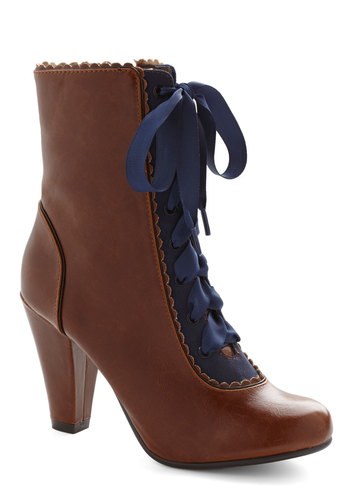 Flair-y Tale Boot in Cognac by Chelsea Crew - Mid, Faux Leather, Brown, Blue, Solid, Vintage Inspired, French / Victorian, Steampunk, Lace Up, Scallops