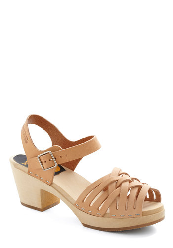 Riviera Dance Heel by Swedish Hasbeens - Tan, Braided, Mid, Best, Platform, International Designer, Chunky heel, Leather, Solid