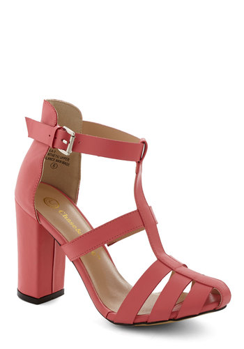 Step Bright Up Heel - Mid, Faux Leather, Coral, Solid, Daytime Party, Good, Chunky heel, Strappy, Wedding