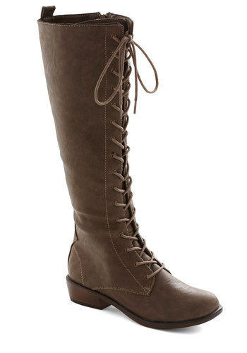 Tree Tapping Staple Boot in Taupe - Low, Faux Leather, Tan, Solid, Safari, Lace Up, Steampunk, Variation