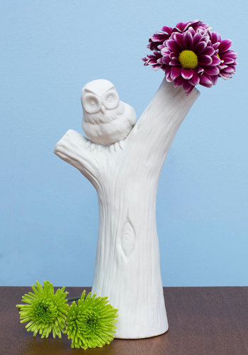 Perch Tree Vase - White, Dorm Decor, Owls, Good, Solid