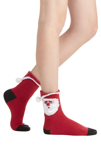 Ho-Ho-Hosiery Socks - Knit, Red, Black, White, Poms, Holiday, Winter, Good, Novelty Print