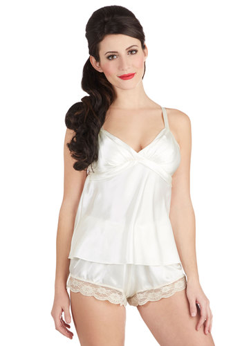 Napa Time Pajamas - Sheer, Woven, White, Solid, Lace, Boudoir, Spaghetti Straps, Satin