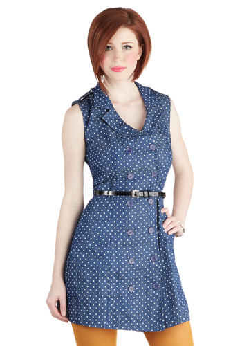 Jean Come True Dress - Mid-length, Blue, White, Polka Dots, Buttons, Belted, A-line, Sleeveless, V Neck, Summer, Exclusives, 90s, Gifts Sale