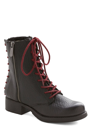 Intrepid Intern Boot - Mid, Leather, Black, Red, Solid, Exposed zipper, Military, Menswear Inspired, Better, Lace Up