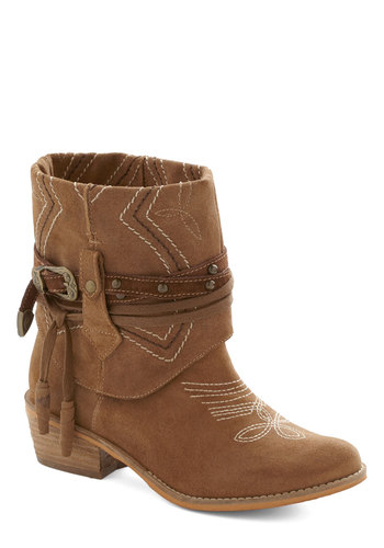 Executive Ranch Boot - Low, Leather, Tan, Buckles, Studs, Better, Embroidery, Rustic, Suede