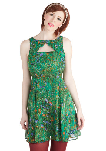 Slideshow and Tell Dress by Jack by BB Dakota - Exclusives, Green, Multi, Floral, Cutout, Party, A-line, Sleeveless, Boat, Graduation, Summer, Mid-length, Sheer, Daytime Party, Wedding, Gifts Sale