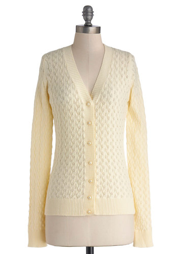 Networking Necessities Cardigan by Myrtlewood - Private Label, Knit, Mid-length, Cream, Long Sleeve, Better, White, Long Sleeve, Solid, Buttons, Work, Vintage Inspired, Scholastic/Collegiate, V Neck, Rhinestones, Daytime Party, Exclusives