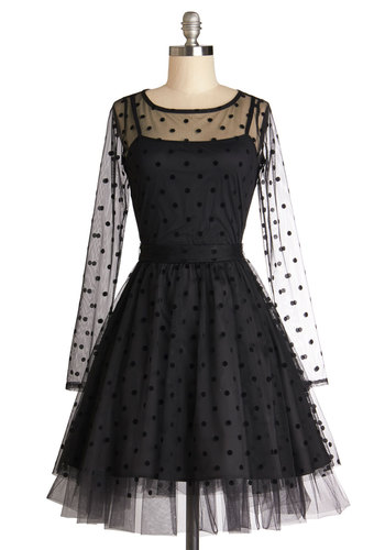 Before the Ballet Dress - Black, Polka Dots, Party, Ballerina / Tutu, Long Sleeve, Better, Sheer, Knit, Woven, Mid-length, Vintage Inspired, 50s, 60s, Fit & Flare, Scoop, LBD