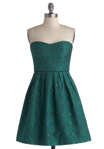 Holiday Brunch Dress - Green, Floral, Pleats, Party, A-line, Strapless, Better, Woven, Mid-length, Holiday Party, Sweetheart, Prom