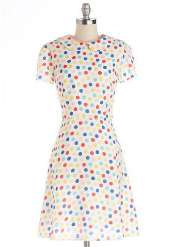 Chipper and Cheery Dress - Multi, Polka Dots, Peter Pan Collar, Casual, A-line, Short Sleeves, Better, Collared, Sheer, Woven, Mid-length