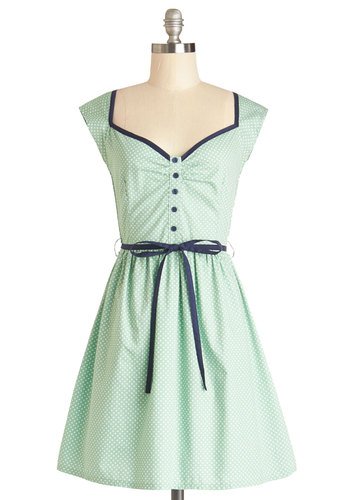 Country Crooning Dress - Mint, White, Polka Dots, Buttons, Cutout, Casual, Vintage Inspired, 50s, A-line, Better, Sweetheart, Cotton, Woven, Mid-length, Blue, Belted, Trim, Cap Sleeves, Pastel, Spring