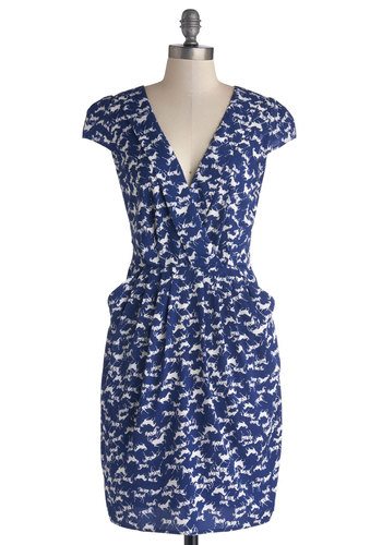 Know Your Network Dress by Closet London - Blue, White, Print with Animals, Exposed zipper, Casual, Shift, Cap Sleeves, Good, V Neck, Mid-length, Chiffon, Woven, Pockets, Critters