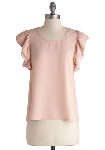 City Dreaming Top - Sheer, Woven, Mid-length, Pink, Solid, Ruffles, Daytime Party, Fairytale, Pastel, Cap Sleeves, Scoop, Valentine's, Pink, Short Sleeve