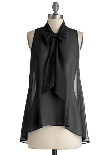 Cute Do You Do Top in Black - Chiffon, Sheer, Woven, Mid-length, Black, Solid, Tie Neck, Film Noir, Vintage Inspired, Sleeveless, Good, Black, Sleeveless, Variation, Work, Top Rated