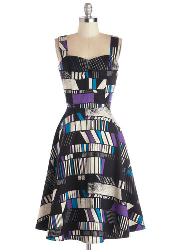 I Jumble for You Dress by Nooworks - Cotton, Woven, Long, Print, Party, A-line, Better, Sweetheart, Multi, Blue, Purple, Black, White, Tank Top