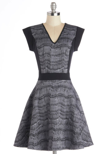 Be Still My Art Dress by Nooworks - Cotton, Mid-length, Knit, Black, Grey, Print, Pockets, Casual, A-line, Cap Sleeves, V Neck