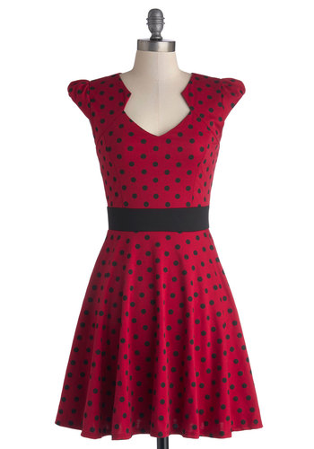 The Story of Citrus Dress in Red - Red, Black, Polka Dots, Casual, A-line, Cap Sleeves, Good, V Neck, Knit, Mid-length, Variation