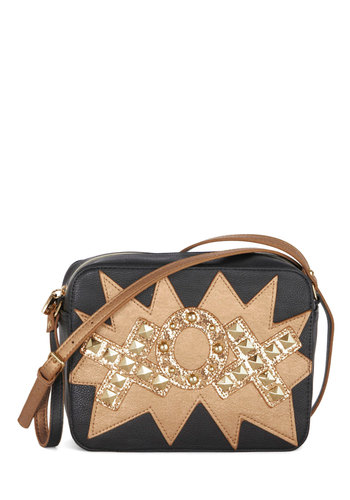 Betsey Johnson Tic Tac Stow Bag by Betsey Johnson - Black, Gold, Studs, Better, Faux Leather, Novelty Print, Glitter