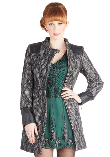 Supply Chain of Command Coat - Faux Leather, Knit, Woven, Long, Black, White, Lace, Pockets, Long Sleeve, 2