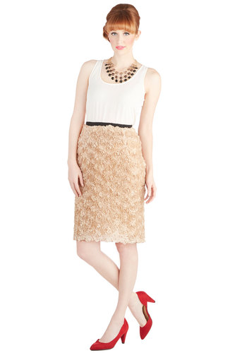 Florist to the Famous Skirt by Pink Martini - Woven, Long, Cream, Solid, Flower, Party, Cocktail, Pencil, Pink