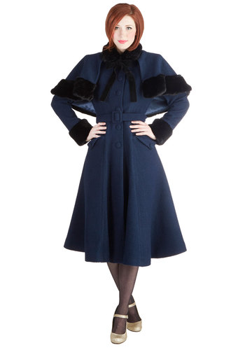 Snowy Sightseeing Coat - Faux Fur, Woven, Long, 3, Blue, Black, Solid, Buttons, Pockets, Belted, Vintage Inspired, 40s, Long Sleeve, Winter, Holiday Party