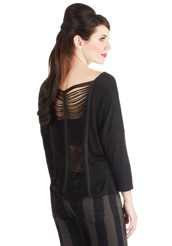 TGI-Fringe Top - Jersey, Sheer, Knit, Mid-length, Black, Solid, Fringed, Party, Girls Night Out, Vintage Inspired, 20s, Long Sleeve, Good, Boat, Black, Long Sleeve