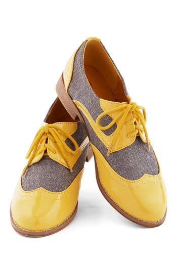 Your Sunny Day Best Flat - Low, Faux Leather, Woven, Yellow, Solid, Grey, Daytime Party, Menswear Inspired, Vintage Inspired, 20s, 30s, Good, Lace Up, Statement