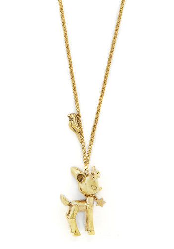 Deer Me Oh My! Necklace - Print with Animals, Critters, Gold, Better