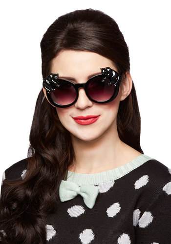 Leisure of the Pack Sunglasses by And Mary - Black, Print with Animals, Best, International Designer, Cats, Quirky, Statement