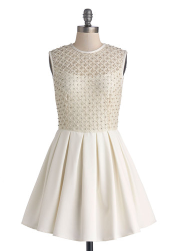 Gem I Fall in Love Dress - Sheer, Woven, Short, White, Tan / Cream, Rhinestones, Bride, Fit & Flare, Sleeveless, Better, Crew, Exposed zipper, Pearls, Lace, Pleats, Prom, Wedding, Party, Lace, Special Occasion