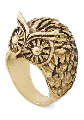 Commanding Attention Ring - Print with Animals, Owls, Gold, Better, Critters