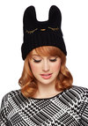 Cat Nap Hat in Black - Knit, Black, Gold, Print with Animals, Embroidery, Cats, Good, Quirky, Variation, Winter
