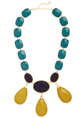 On the Bauble Necklace in Teal - Yellow, Black, Solid, Statement, Gold, Good, Blue, Spring