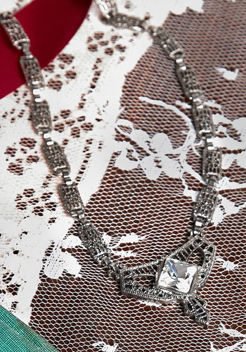 Deco With It New Heirloom Necklace - Solid, Rhinestones, Vintage Inspired, 20s, 30s, Silver, Better, Exclusives, Special Occasion, Bride, Wedding