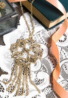 Ornate Ornament New Heirloom Necklace - Solid, Gold, Good, Cutout, Vintage Inspired, 20s, 30s, Exclusives, Fringed
