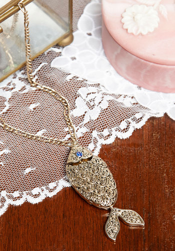 Gilded Gills New Heirloom Necklace - Print with Animals, Vintage Inspired, Gold, Good, Exclusives, Nautical, Quirky