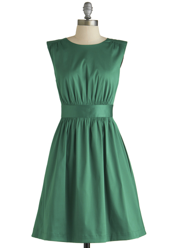 Too Much Fun Dress in Emerald Satin by Emily and Fin - Green, Solid, Vintage Inspired, 50s, Fit & Flare, Sleeveless, Better, International Designer, Scoop, Woven, Mid-length, Pockets, Variation, Party