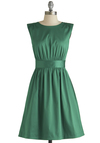 Too Much Fun Dress in Emerald Satin by Emily and Fin - Green, Solid, Casual, Daytime Party, Vintage Inspired, 50s, Fit & Flare, Sleeveless, Better, International Designer, Scoop, Woven, Mid-length, Pockets, Variation
