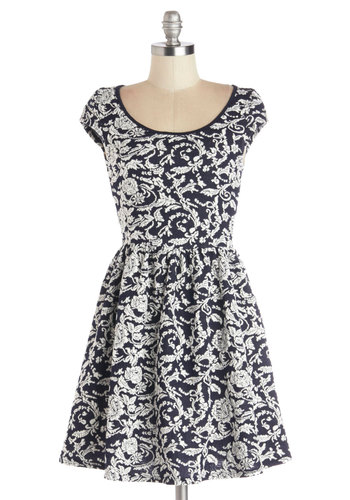 The Sweetest Scone Dress - Floral, Casual, A-line, Cap Sleeves, Good, Scoop, Mid-length, Knit, Blue, White