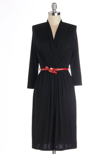 This Is the Life Dress in Onyx - Black, Solid, Belted, Casual, A-line, Long Sleeve, Good, V Neck, Jersey, Knit, Red, Variation, WPI, Top Rated, Mid-length