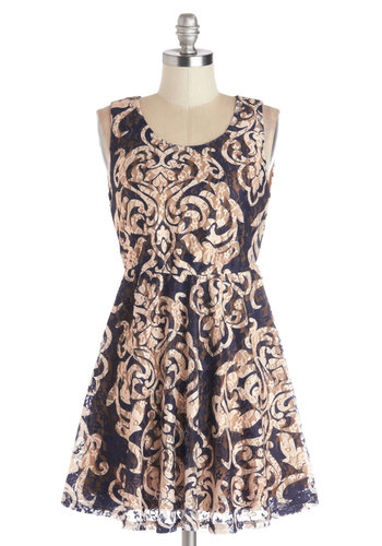 Art School Speech Dress - Knit, Short, Blue, Tan / Cream, Print, Lace, Party, A-line, Tank top (2 thick straps), Good, Scoop, Lace