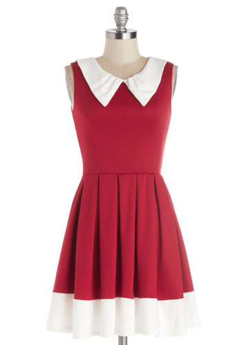 Prose and Contrast Dress in Red - Red, White, Pleats, Casual, Vintage Inspired, 60s, A-line, Sleeveless, Good, Collared, Mid-length, Knit, Variation