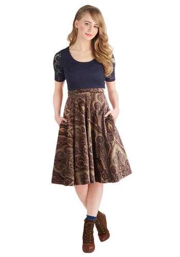 Folk Rock Show Skirt by Pink Martini - Cotton, Woven, Long, Brown, Pockets, Work, Vintage Inspired, Steampunk, Better, Ultra High Rise, Brown, Paisley, 70s, Ballerina / Tutu