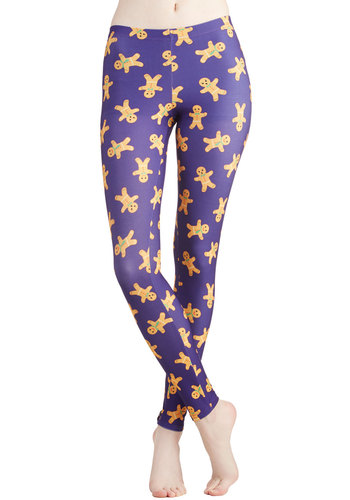 Genial Gingerbread Leggings - Knit, Novelty Print, Holiday, Vintage Inspired, 90s, Quirky, Skinny, Good, Mid-Rise, Ankle, Blue, Purple, Winter