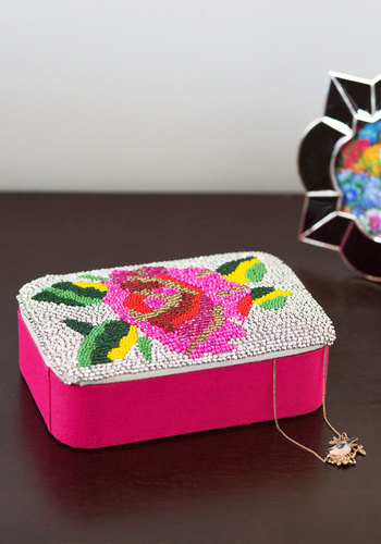 Bead I Say More? Keepsake Box by Karma Living - Cotton, Woven, Multi, Boho, Better, Floral, Beads