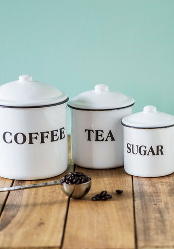 Morning Essentials Container Set - White, Black, Novelty Print, Wedding