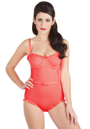 Coral Gables Days One-Piece Swimsuit - Knit, Coral, Solid, Ruffles, Belted, Spaghetti Straps, Beach/Resort, Underwire, Summer