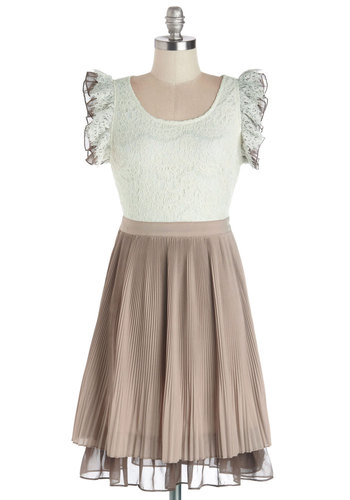 Tea Boutique Owner Dress - Woven, Mid-length, Tan / Cream, White, Lace, Ruffles, Party, A-line, Sleeveless, Better, Scoop, Pleats, Tiered