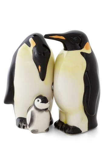 Pass the Penguin Shaker Set - Tan / Cream, Black, Print with Animals, Critters